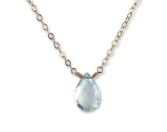 Aquamarine - Aquamarine Necklace - Necklaces for Women - Gemstone Necklace - March Birthstone - Gift for Mom - Gift for Her - Gold Necklace