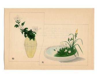 c. 1933 IKEBANA FLOWER ARRANGEMENT Japanese botanical lithograph - original vintage print