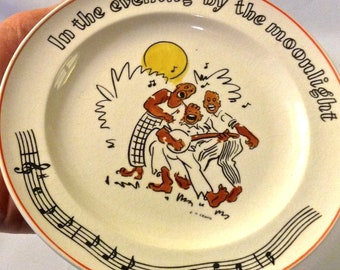 """Vintage Fondeville Songs Collectible Plate, """"In the Evening By the Moonlight!"""" Songs Fondeville Active"""