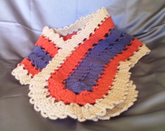 Knitted scarf, crocheted  58 in x 10 in