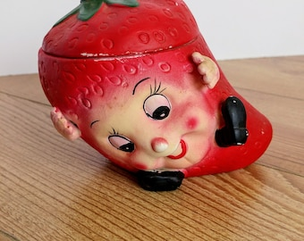 Vintage Ceramic Anthropomorphic Kitsch Lidded Strawberry Jar with Face