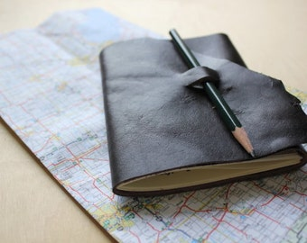 Hiking leather journal // trail log // trail notes
