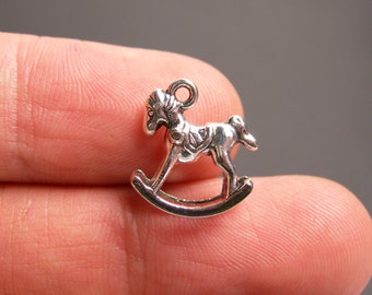12 Rocking horse charms - Silver tone rocking horse charms - 12 pcs  - ASA163