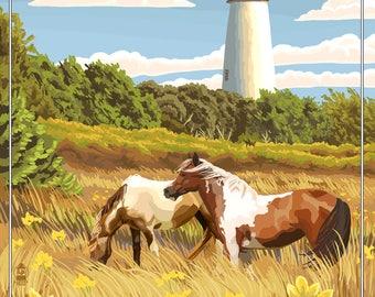 Outer Banks, North Carolina - Ocracoke Lighthouse - Lantern Press Artwork (Art Print - Multiple Sizes Available)