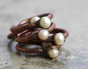 Pearl Ring - Electroformed Stone Ring - Pearl Stacking Ring - June Birthstone Ring - Freshwater Pearl Ring
