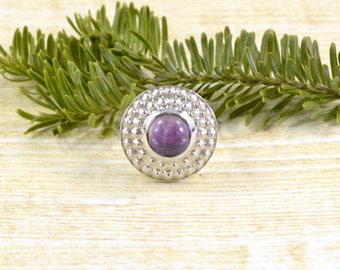 Amethyst Disc Ring // Amethyst Jewelry // Sterling Silver // Village Silversmith