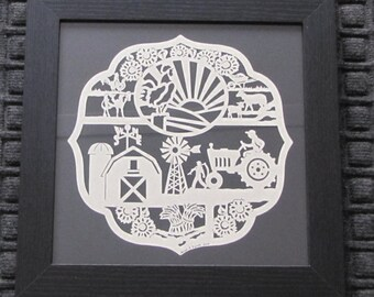 Farmer's Plaque - Scherenschnitte - Hand Paper Cutting Art signed and dated By Janet Lynch -12x12 Framed