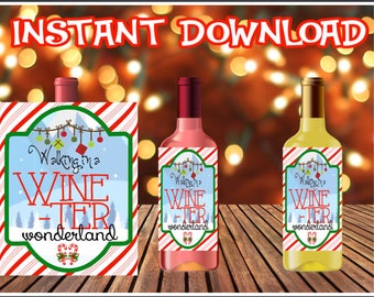 Funny Christmas Wine Label - WINEter Wonderland - Wine Bottle Labels - Christmas - Holiday - INSTANT DOWNLOAD  - Digital File