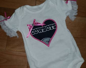 Custom baby toddlers girl's Dallas Cowboys onesie with heart and bow lace sleeves