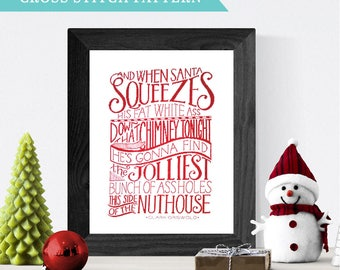 Christmas Vacation Cross Stitch Pattern // Hand Lettered Design // Clark Griswold Quote // Wall Art, Holiday Home Decor