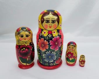 Russian Polkhov Matryoshka Babushka Maiden Floral Wooden Nesting Dolls 4 Piece