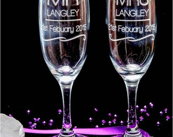 Personalised engraved Champagne glasses, Mr and Mrs design