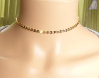 Coin Choker,gold sequin choker, Silver Choker, Boho Choker Necklace, Gold Tattoo Necklace, Layering Necklace,Gift idea, birthday gift