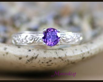 Amethyst Solitaire Ring - Sterling Silver Amethyst Ring - Purple Promise Ring - February Birthstone Ring - Purple Stone Ring - Size 7 Ring