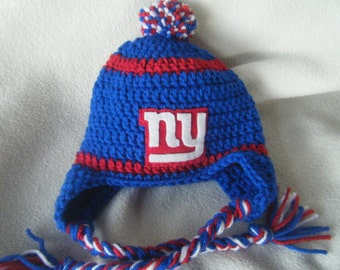 Crocheted Giants Inspired Team Colors or (Choose your team)  Football Helmet Baby Beanie/hat - Made to Order - Handmade by Me