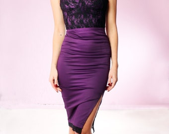 SALE 1 LEFT! Wiggle Dress in Royal Purple and Black Lace