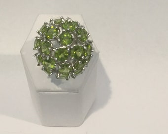 Sterling Silver 925 Peridot Ring With Round stone