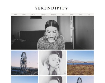 """Blogger Template """"Serendipity"""" / Instant Digital Download Premade Photography Blog Theme Design"""