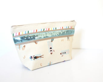 "Make up Case made in cotton and glitter  ""Chilling"" // purse // bathroom"