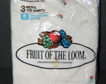 Pack 3 Fruit Of The Loom Mens V Neck Tee Shirts Vintage 1984 XL White NOS Deadstock USA Cotton