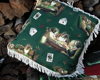 """Dogs Playing Poker - 16"""" Pillow Cover with Rope Fringe - Den Man Cave Bar Novelty Home Decor Father's Day Gift - C.W. Coolidge Print"""
