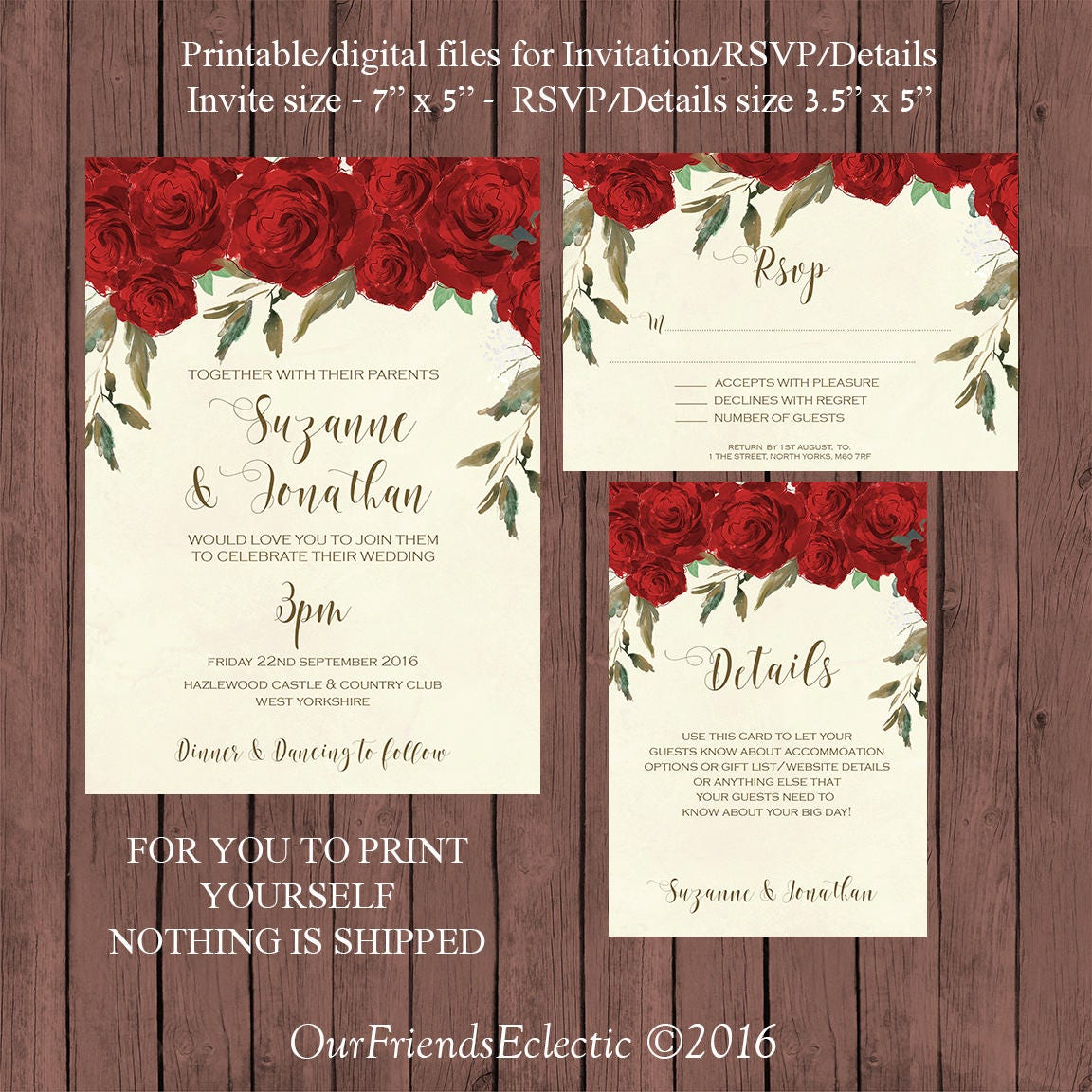 red roses wedding invitation suite watercolour wedding