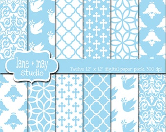 digital scrapbook papers - baby blue baptism patterns - INSTANT DOWNLOAD