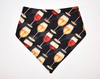 Wine/Plaid, Reversible Dog Bandana, Snap Closure Bandana
