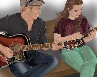 Drawn Portrait (Digital) - Custom Artwork: Digitally Illustrated Portrait (send your picture to be drawn)