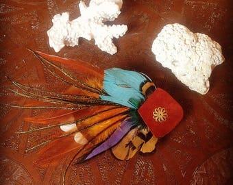 Hair - clip - Fascinator - feather wedding accessories-
