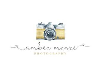 Vintage Camera Logo, photography Logo, Calligraphy Logo, Small Business Logo, Photographer watermark n057