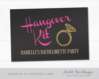 "Hangover Kit Printable Label: 3""x4"" or 4""x6"" (INSTANT DOWNLOAD!) Bachelorette Hangover Kit Label, Black, Gold, Pink & Glitter"