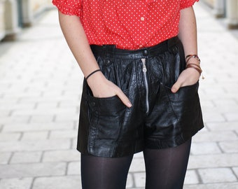 High waisted shorts VINTAGE 80s leather-