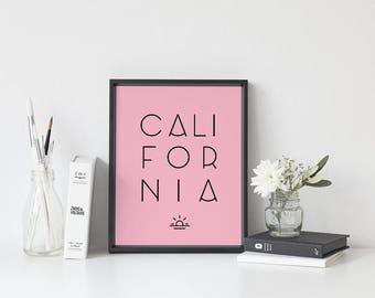 California print, pink wall art, pink art, printable art, printable wall art, pink bedroom art, pink wall decor, california poster art
