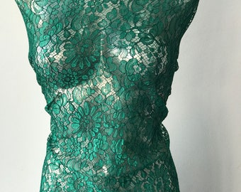 green lace fabric French lace Solstiss scallop edging eyelash lace floral bridal mother of bride 98cm wide