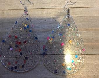 Clear confetti earrings, confetti earrings, clear earrings, earrings
