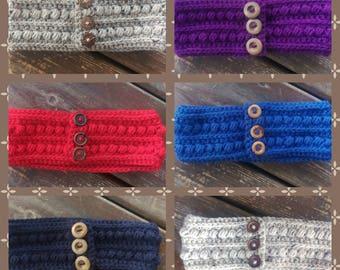 Women's button ear warmers/headband-  grey ear warmer-blue ear warmer-purple ear warmer-red ear warmer- gifts for her-stocking stuffer
