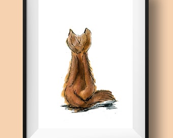 Brown cat illustration, cat from behind painting of a brown cat, a simple minimal cat art print in watercolor and ink, cat illustration