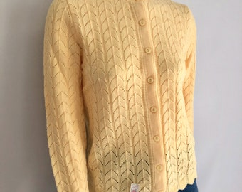 Vintage Women's 70's Unworn, Yellow, Cardigan Sweater by It's Pure Gould (M)