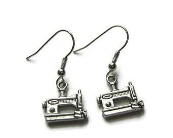 Sewing Machine Earrings, Sewing Earrings, Sewing Machine Jewelry, Sewing Jewelry, Sewing Machine Charm Earrings, Jewelry Gift For Sewer