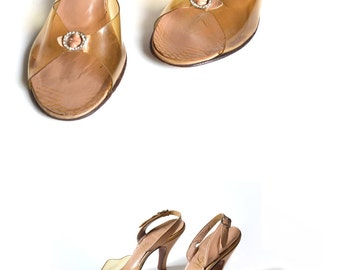 50s Shoe / Rhinestone Buckle Cinderella Slipper / Clear Sandal / Clear Slide /  6 6.5 Shoe / Women Evening Shoe / Vintage Accessories Shoe