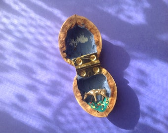 Miniature deer in treasure walnut shell