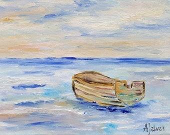Fine art print Boat print Seascape print Nautical art print Wooden row boat nautical art Nautical wall art Nautical print Row boat Ocean art
