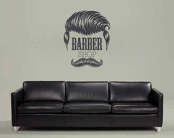 Barbershop wall decal sign logo mural Barbershop Logo Sticker BarberShop Window Decal Barber's Logo Mural Hair Salon Wall Decals kik3257