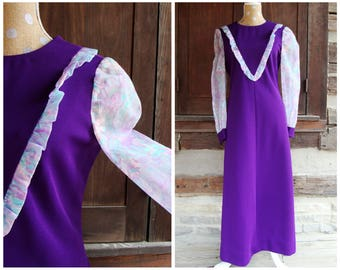 70s Purple Maxi Dress MOD Floral Long Puffy Sleeves Handmade Polyester House Day Dress