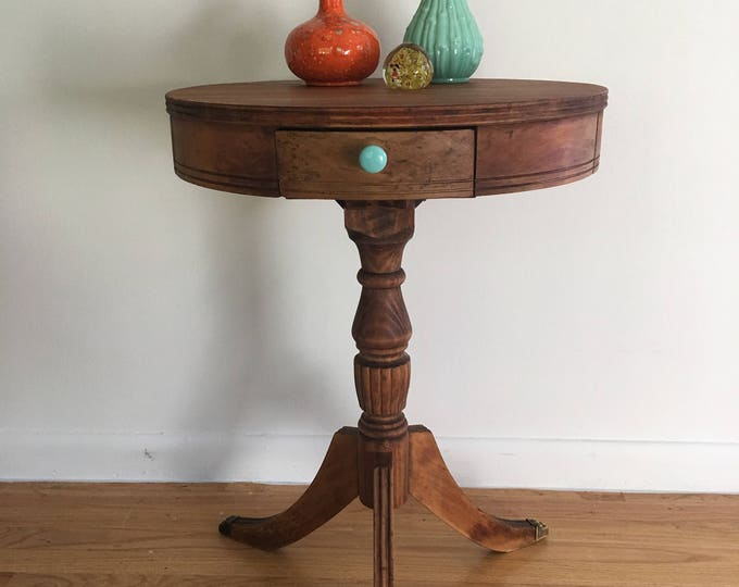 """SOLD ............Antique Round Drum Table 20"""""""