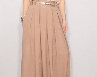 Light brown chiffon maxi skirt with pockets Women skirt Long skirt High waisted skirt Boho skirt