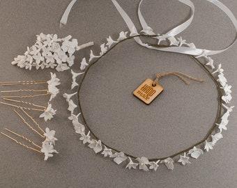 Bridal wedding set ‒ Wedding wreath ‒ Bridal wreath ‒ Boutonniere ‒ Hair pins ‒ Crown ‒ Bridal headpiece ‒ Polymer clay