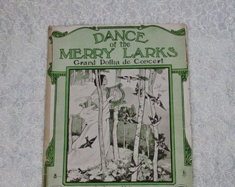 SALE Polka Sheet Music 1908, Dance of the Merry Larks, Grand Polka de Concert