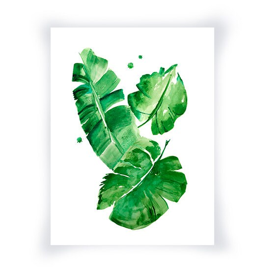 Watercolor Green Plants Monstera Nature Posters And Prints